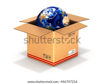 Earth in a cardboard box isolated on white background 3d