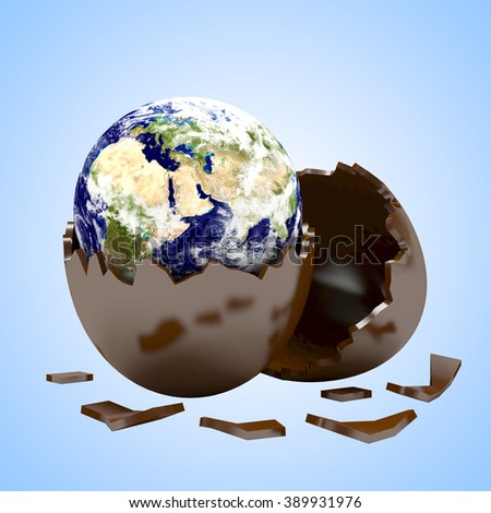 Earth in a chocolate egg shell. Elements of this image furnished by NASA