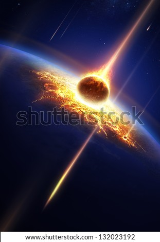 Earth in a  meteor shower (Elements of this image furnished by NASA- earthmap for render  from http://visibleearth.nasa.gov) - stock photo