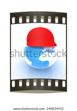 "Earth in a red peaked cap. 3d icon. Concept: ""Summer Holidays and travel"" on a white background. The film strip - stock photo"