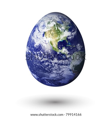 earth in egg shape, to convey a fragile earth.