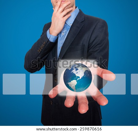 Earth in front of businessman. Touch screen consept - Stock Image - stock photo