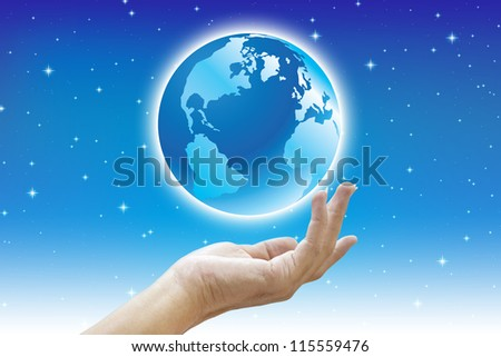 Earth in hand with planet concept save the world - stock photo