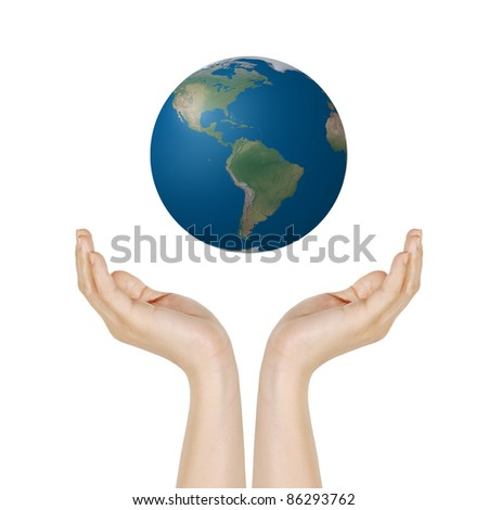 earth in hands isolated on white, photo of Earth from NASA - stock photo