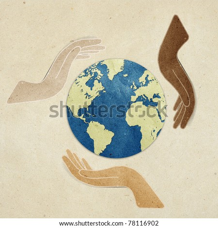 earth  in  hands  recycled paper craft stick on paper background Data source: NASA - stock photo