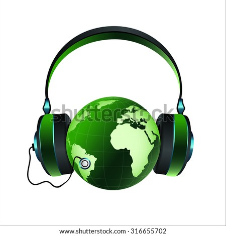 earth in headphones
