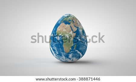 Earth in shape of an egg on seamless white studio. - stock photo