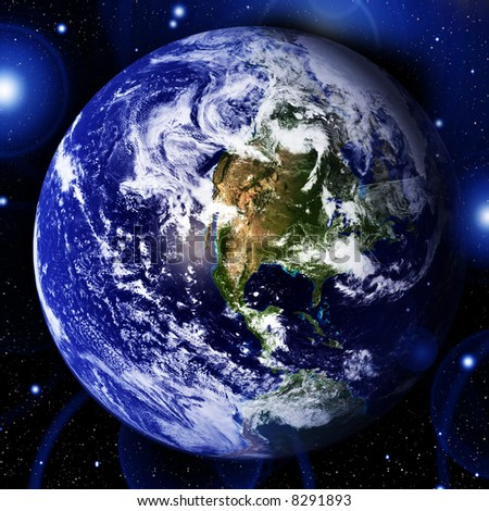 Earth in space - stock photo