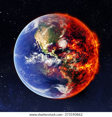 Earth in space and one part are burns. Elements of this image furnished by NASA - stock photo