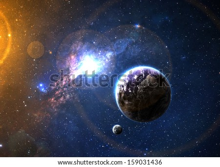 Earth in space. Elements of this image furnished by NASA - stock photo