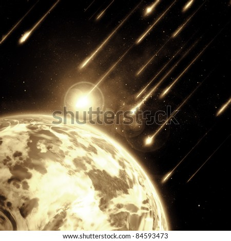 Earth in space with a flying asteroids, abstract background - stock photo
