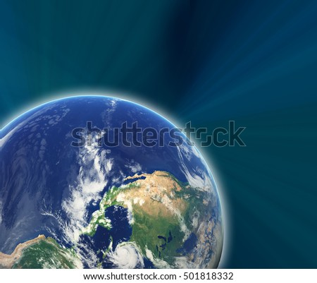 Earth in space with stars. Photo of Earth furnished by NASA