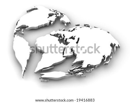 Earth in the form of heart - stock photo