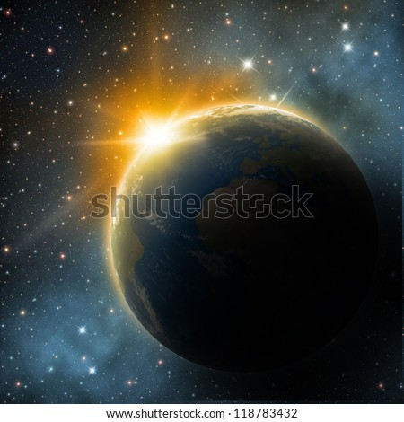Earth in the space - stock photo