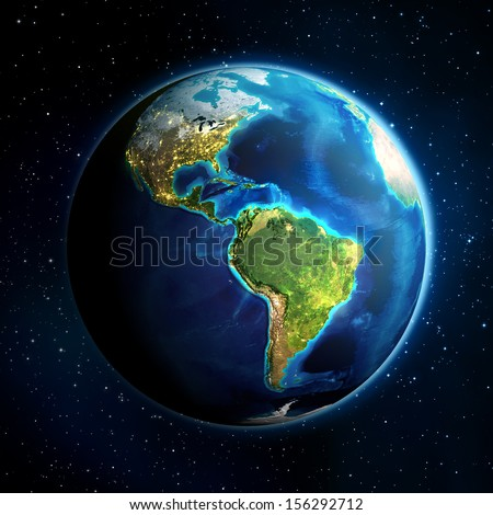 earth in the space - Universe background - USA  - stock photo