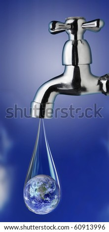 earth in water drop from tap - stock photo