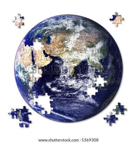 Earth jigsaw almost complete with some pieces still left to place. Source image courtesy of NASA - stock photo