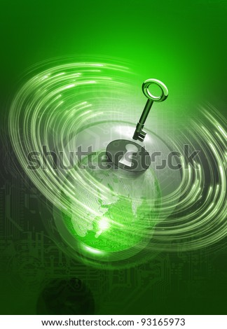 Earth like globe in security bubble with computer circuit board design on earth and in background. A key symbolises the security aspect of the conceptual illustration - stock photo