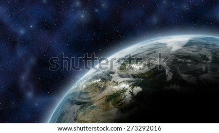 Earth like planet seen from space, with atmosphere glow and stars as background -  Elements of this Image Furnished By NASA - stock photo