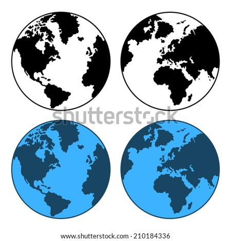 Earth Map Set Isolated on White.  illustration