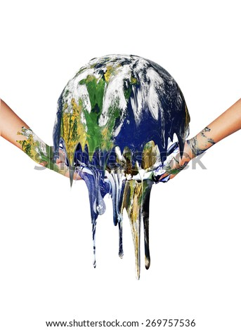 Earth melt in two hand on white background .Earth day concept.Elements of this image furnished by NASA. - stock photo