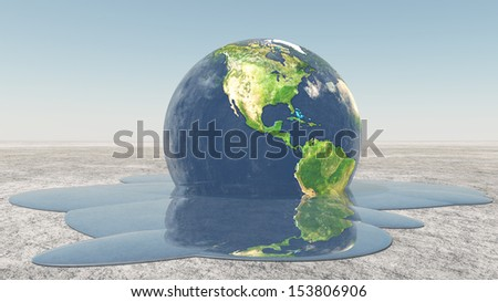 Earth melting into water - stock photo