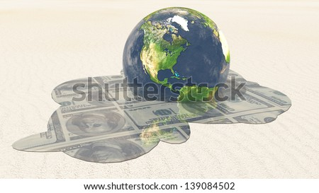 Earth melts revealing dollars Elements in this image furnished by NASA - stock photo