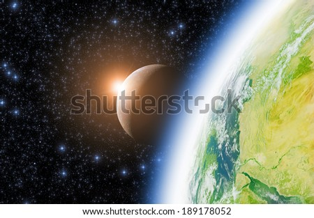 Earth, Moon and space sunrise on a dark starry background. Elements of this image furnished by NASA/JPL.  - stock photo