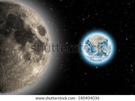 Earth, Moon and stars in the Milky Way. Planet Earth furnished by NASA/JPL.  - stock photo