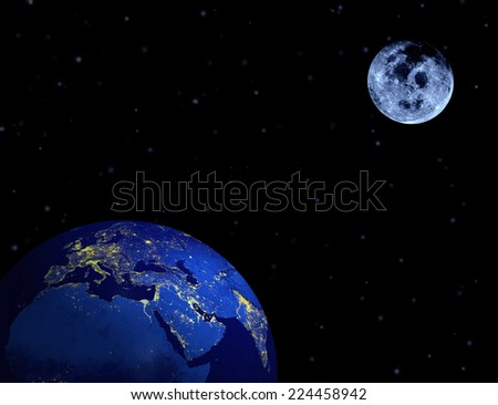 Earth, moon, stars in night sky. Elements of this image furnished by NASA. - stock photo
