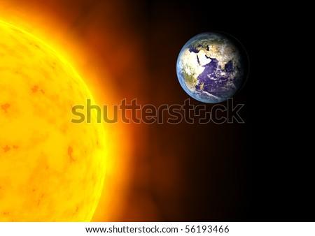 Earth near the Sun - stock photo
