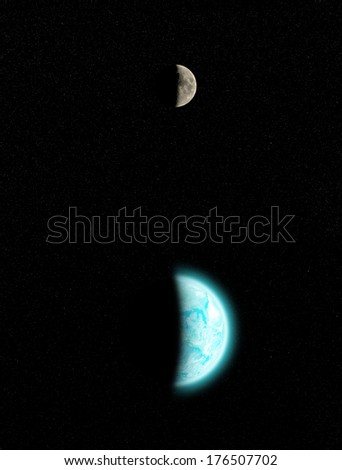 Earth (North, Central and South America side) surrounded by tiny stars. Earth disk furnished by NASA/JPL. - stock photo