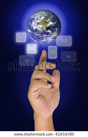 Earth on finger tip and many button