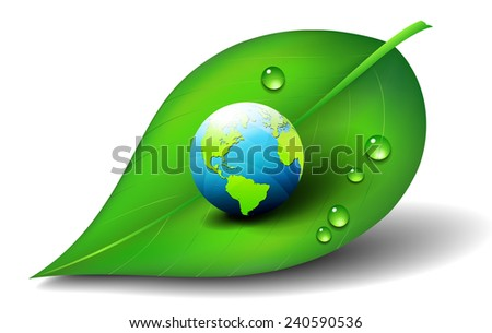 Earth on Leaf - Raster Version - stock photo