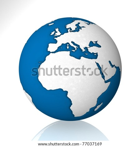 earth on white background - stock photo