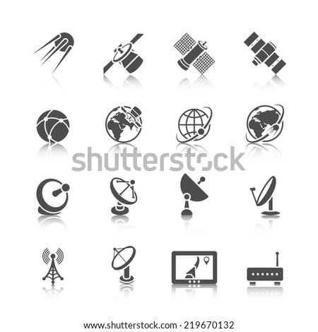 Earth orbit space station and satellite dish digital receiver communication icons set black abstract isolated  illustration - stock photo