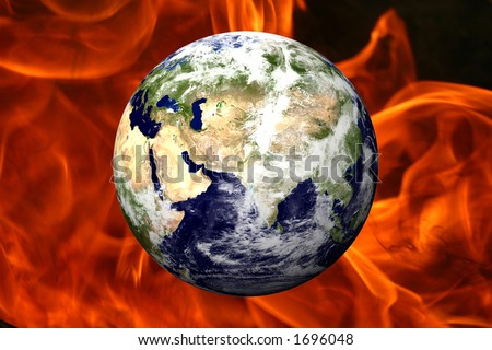 EARTH OVER FIRE - MID EAST - stock photo