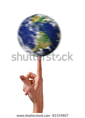 earth pivoting on finger - stock photo