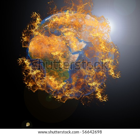 Earth planet at fire. Data source: Nasa - stock photo