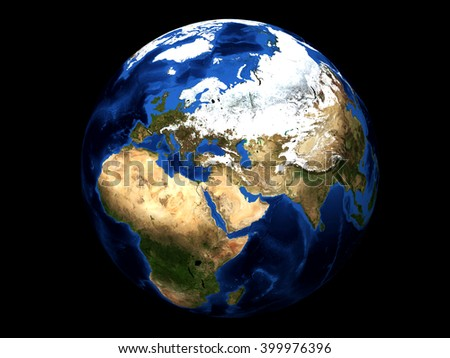 Earth planet. Europe & Africa. 3d - stock photo