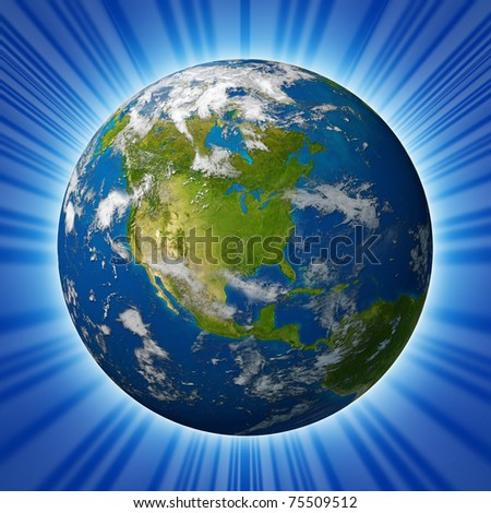 Earth planet featuring North america with the United States Canada and Mexico surrounded by blue ocean and clouds isolated on radial background. - stock photo