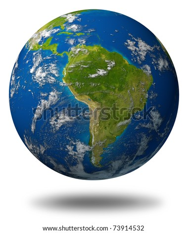 Earth planet featuring South america and latin american countries surrounded by blue ocean and clouds isolated on white.