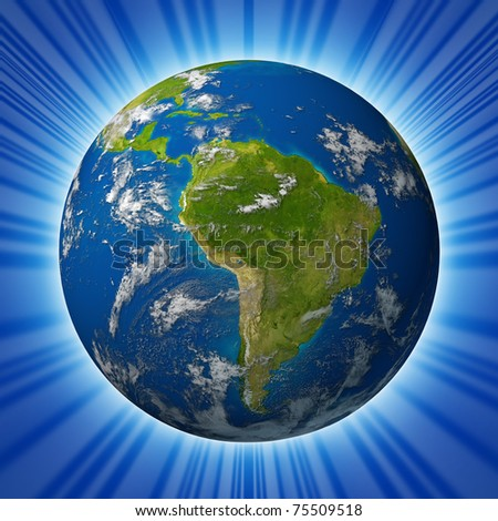 Earth planet featuring South america and latin american countries surrounded by blue ocean and clouds isolated on radial background. - stock photo