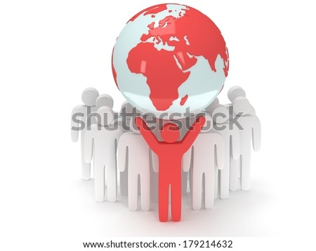 Earth planet globe and group of people with teamleader. 3D render. America view. Praise, teamwork, eco, business, global concept. - stock photo