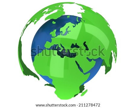 Earth planet globe. 3D render Africa view on white background. - stock photo