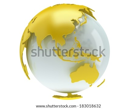 Earth planet globe. 3D render. China view. On white background. - stock photo