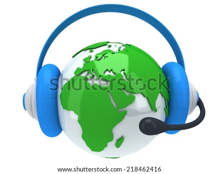 Earth planet globe with headset 3D render. America view on white background. Music call center phone hands free manager concept - stock photo