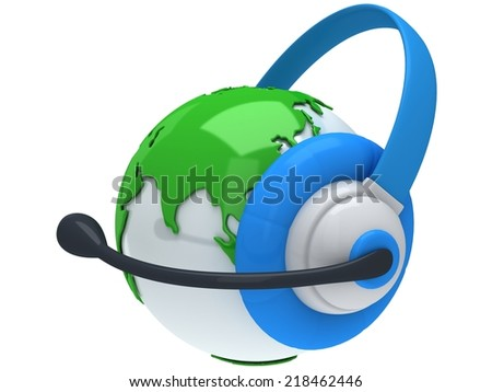 Earth planet globe with headset 3D render. America view on white background. Music call center phone hands free manager concept