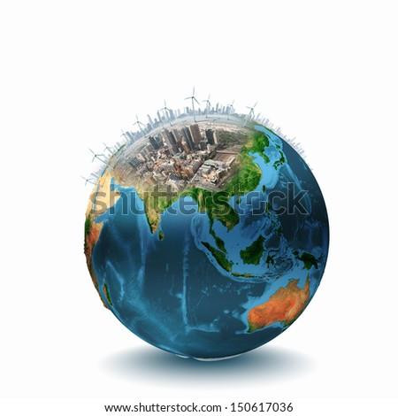 Earth planet image with buildings on surface. Elements of this image are furnished by NASA