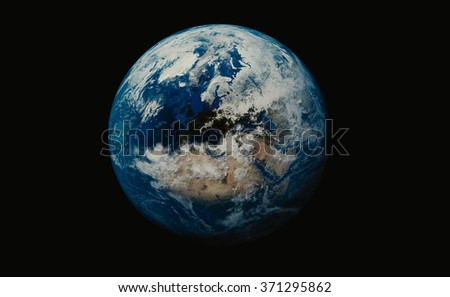Earth, Planet on black background showing Britain and African continent. Elements of this image furnished by NASA - stock photo